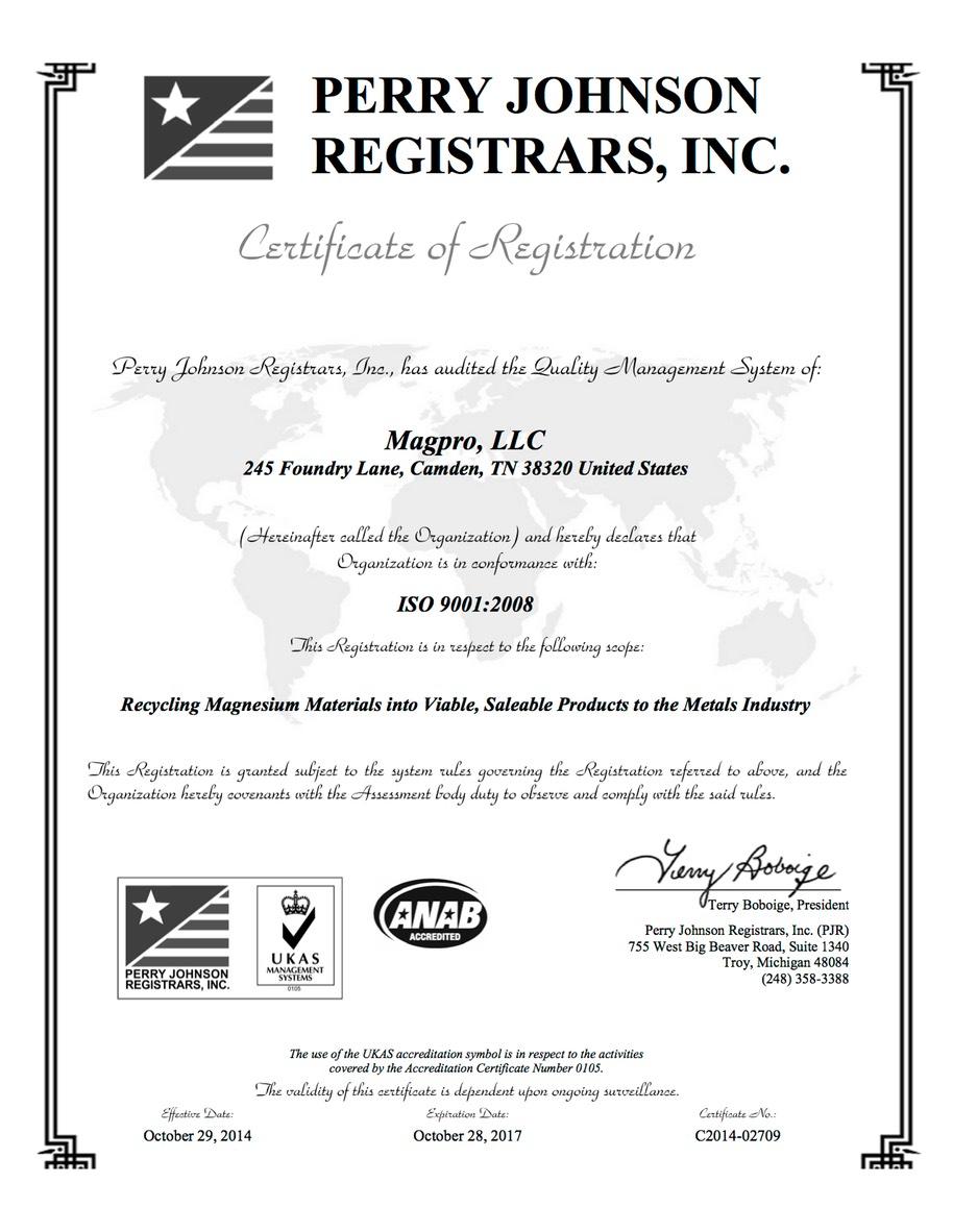Iso Certification Magpro Llc